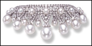 Brilliant white diamond and white South Sea pearl collier necklace by Jewels of Ocean.