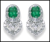 Jewels of Ocean - White diamond heart and emerald drop earrings from the Sangue Blu Collection.