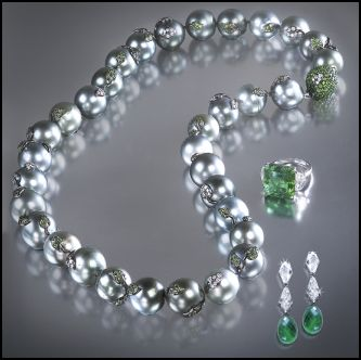 Grey South Sea Pearls with Emeralds by Jewels of Ocean