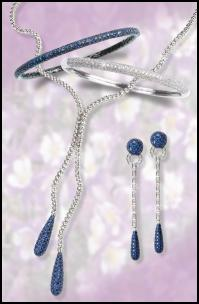 Jewels of Ocean pave jewellery - sapphires and diamonds, necklace, bangle, dangly drop earrings.
