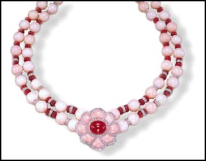 Angel's Skin - Palest Coral Necklace - Pietra Dura Collection