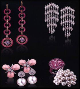 Jewels of Ocean Luxury Jewellery - Chandelier ruby earrings, pearl drop earrings, ruby ring, pearl ring.