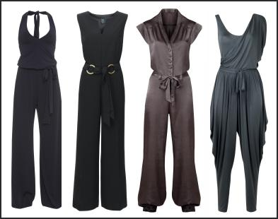 - Black, Navy, Grey Satin Jumpsuits - Spring 2009 Fashion Trend