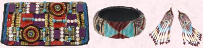 Bag Richness, �85 or �115 by Dune. Patterned Apache Bangle �10 (�17 Eire) Dakota range and Dakota multi Pocahontas Earring �8 (�13.5 Eire) both Accessorize.
