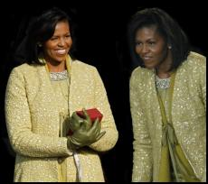 Michelle Obama - 2009 Inauguration lemon grass yellow wool lace  coat by fashion designer Toledo