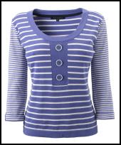 Bonmarche blue and white striped nautical sweater top.