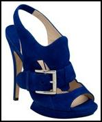 Nautical Trends 2009 - Harvey Nichols - N Kirkwood blue heeled open sandal shoe with silver look buckle.