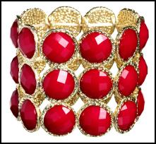 Red cuff - Wallis red opaque round stone wide stretch bracelet £18 - Wallis Spring Summer 09 Jewellery