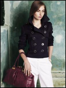 Double breasted navy jacket �15, F&F white high waisted trousers �15, F&F black lock frame bag �15. All from Spring Summer 2009 F&F Womenswear at Tesco.