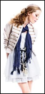 Cream military jacket £40 Therapy, blue and white striped scarf £10 Therapy, White broderie dress £30 by Therapy - Young Fashion Spring Summer 2009 and from House of Fraser.