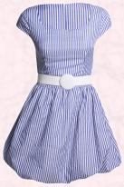 Boohoo.com - Dorothy striped puff ball hem dress with belt and cap sleeves £20 Spring Summer 09.