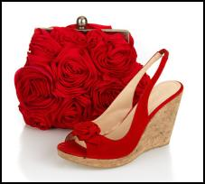 Boden rose clutch £79. Boden Red Suede Corsage Wedges£79.00.