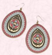 Pink and blue tribal large teardrop earrings