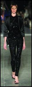 Alexander McQueen body-con jumpsuit in black crystal fabric