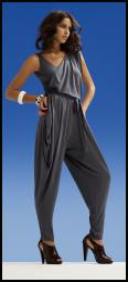 Grey satin jumpsuit with draping - Dorothy Perkins.