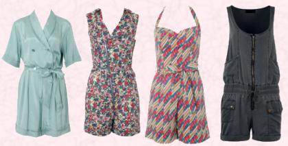 Fashion trend 2009 - Short playsuits/ jumpsuits from ASOS and Dorothy Perkins.