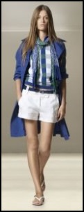 Benetton white shorts and blue mac. Fashion trend 2009.
