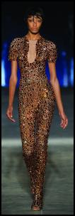 Alexander McQueen body-con jumpsuit in copper toned crystal fabric