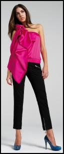 River Island Clothing Co. Ltd   -  Fuchsia one shoulder satin top �34.99, Black 'Nicola' three quarter zip detail trouser �34.99, Blue snakeskin 'Whoop' platforms �54.99.