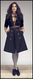 Women's Military Trends in Dark Coats With Gold Buttons