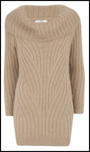 Travelling Rib Camel Cowl Neck Knit �39.50/�54.