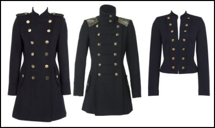 Women's Military Trends in Dark Coats Gold Buttons