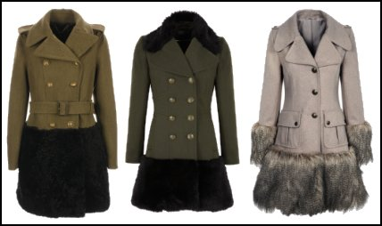 Fur Trim Hem Military Coats