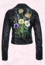 Kane - Flower Embroidery Leather Jacket