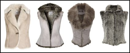 Cream and Grey Fur Waistcoats