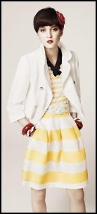 Hobbs Yellow and White Striped Skirt and White Cropped Jacket.
