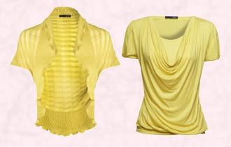 Near Right - Canary Yellow Shrug - GIVe by George Davies - Bloomsbury Collection. Far Right - Lena Top �35 Canary Yellow Draped Neckline Tee - GIVe - City Chic Collection.