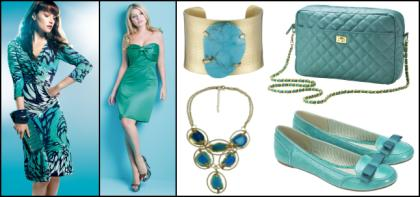 Turquoise blue dresses and accessories.