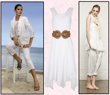 El�gance Spring/Summer 2010 - White Cotton Blazer, �159. White Cotton TShirt/ Gold Motif, �59. White 7/8 Length Jeans, �89. Debenhams Womenswear SS10 - Betty Jackson Black, White Belted Dress �65/�101. Warehouse - Traveller Turn Up White Chino Trousers �40/�52, Scarf �28/� 36 White Crochet Cami Fairtrade Lace Trim Waistcoat �35/46.