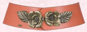 Fever Rose Leather Belt; Oli, �86 - Gorgeous vintage look leather belt in deep orange shade with rose detailing.
