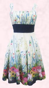 White/ Pink/Navy Floral Border Print Summer Prom Dress by Apricot SS10.