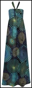 Aqua/Turquoise Halter Neck Printed Maxi Dress �30 - BHS Womenswear SS10.