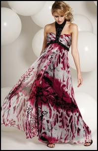 Frank Usher - DV8602 Col 552 Pink Multi Silk Animal Print Long Halter Dress with Bead Trim.