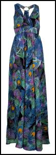 F&F Blue Peacock Pattern Maxi dress �15 - Tesco Clothing