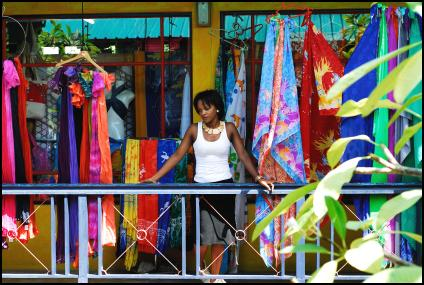 Exotic fabrics outside a Seychelles market shop - courtesy of the Seychelles Tourist Board.