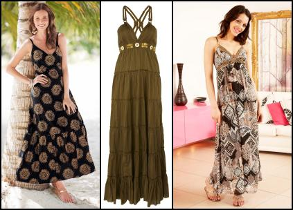 Maxi Dress from �30 at Fifty Plus Spring/Summer 10. Centre - Macram� Maxi Dress �29.99 River Island. Right - Printed Gypsy Beaded Maxi Dress - Apricot.