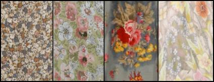 Details of the ditsy floral prints from the dresses.