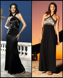 Glamorous Black Silk Evening Halter Gown �149. Long Tall Sally.  Jersey Halterneck With Embroidered Bust Panel.
