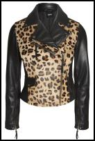 Leather Leopard Effect Biker Zipper Jacket