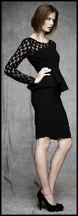 Black Peplum & Lace Womenswear Fashions.