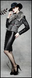 M&S Black Leather Skirt.