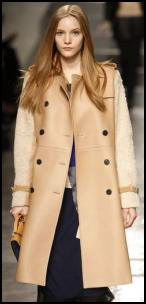 Textured Beige Shearling Lamb Fur Sleeve Coat.