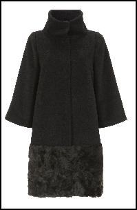 Black Coat With Faux Fur Hem.
