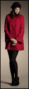 Red M&Co Collarless Coat.
