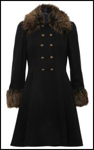 Black Coat Fur Collar.
