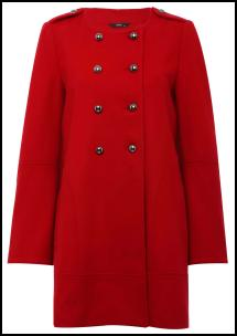 Red Collarless Coat Double Buttons